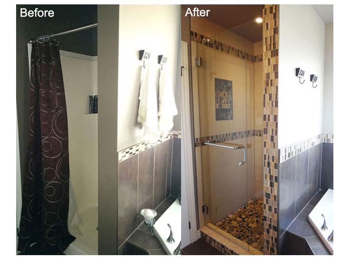 Before & after shower design
