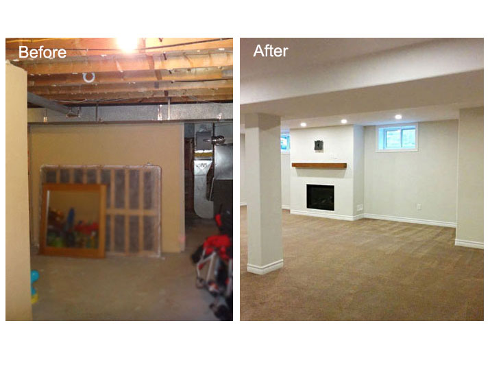 Before and after basement family room