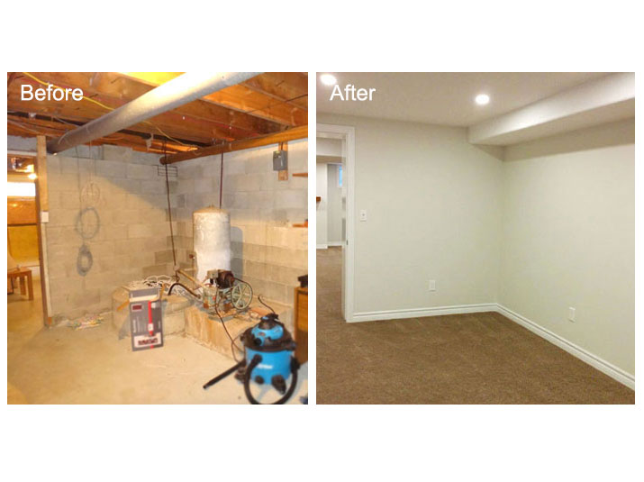 Before and after basement office