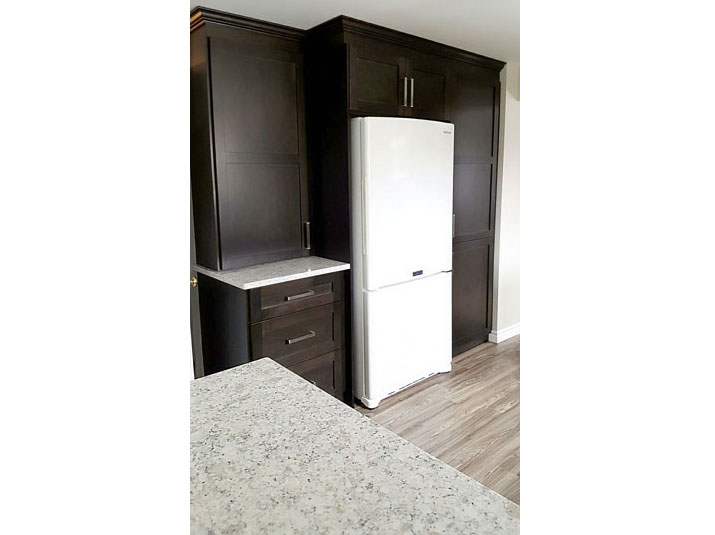 Kitchen pantry space with fridge insert