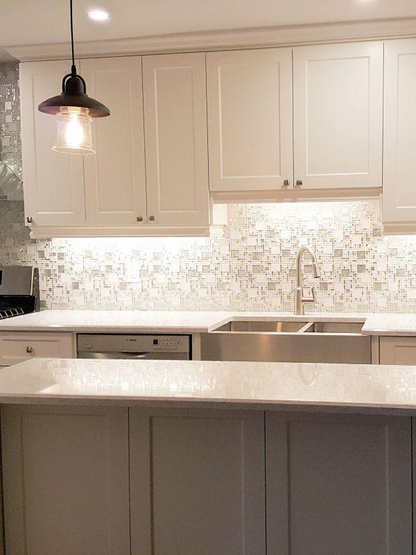 Glass, Stone and Metal Mosaic Kitchen Backsplash