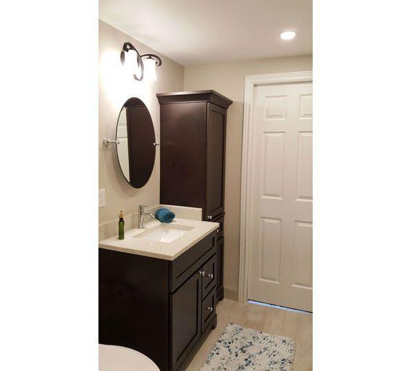 Espresso bathroom vanity and linen tower