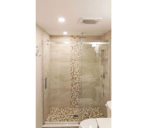 Pebble stone shower base and accent border