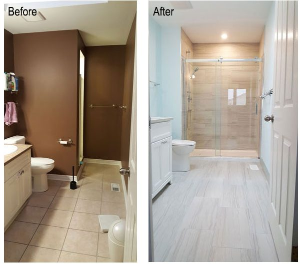Before and after photo of bathroom renovation