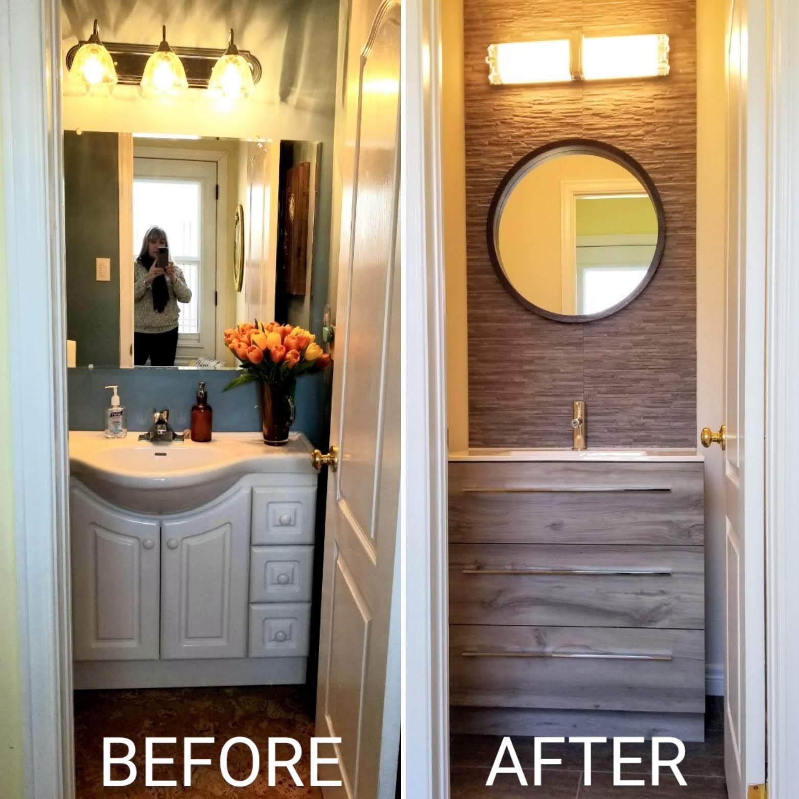 Before and after powder bathroom