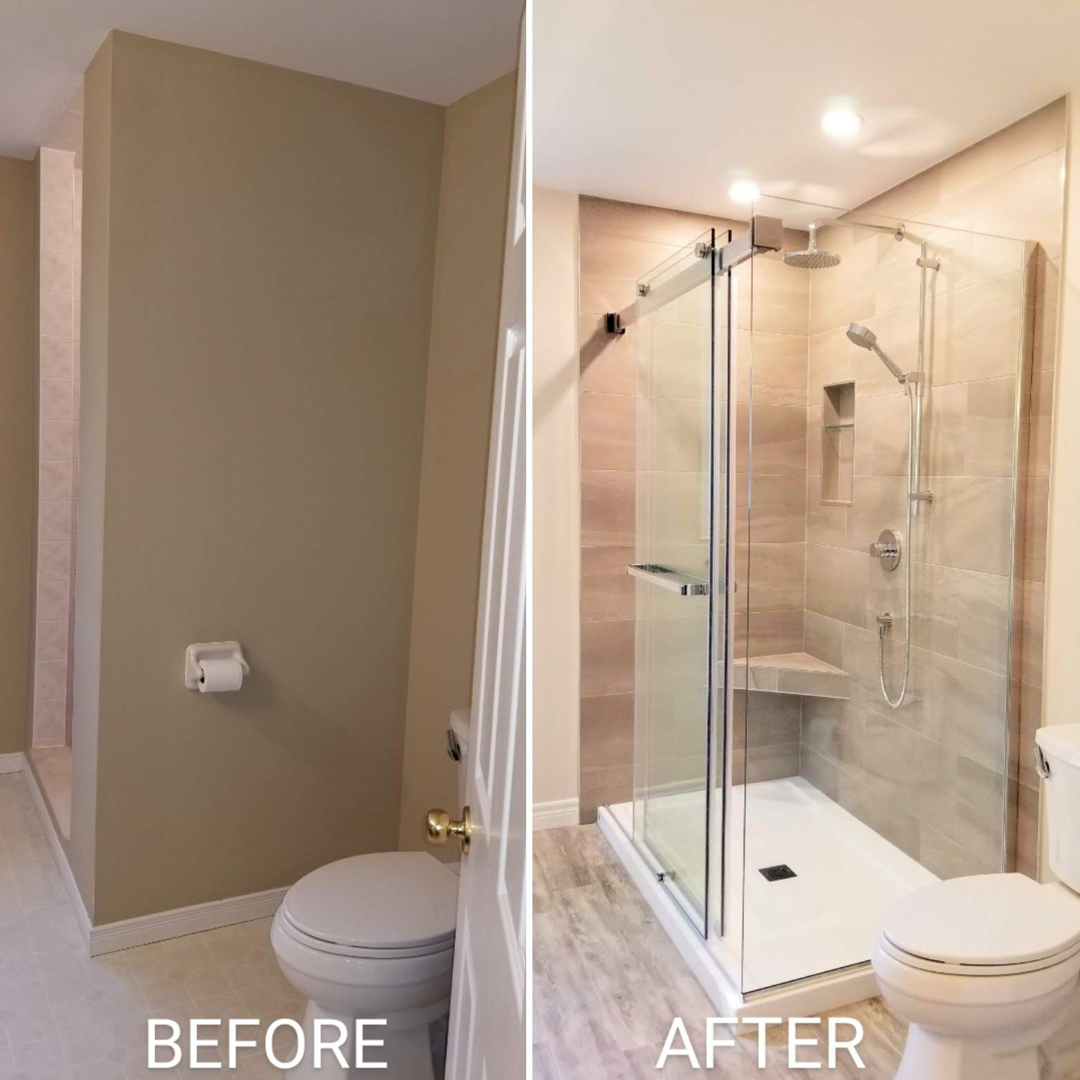 Before and after shower renovation by Germano Creative Interior Contracting Ltd.