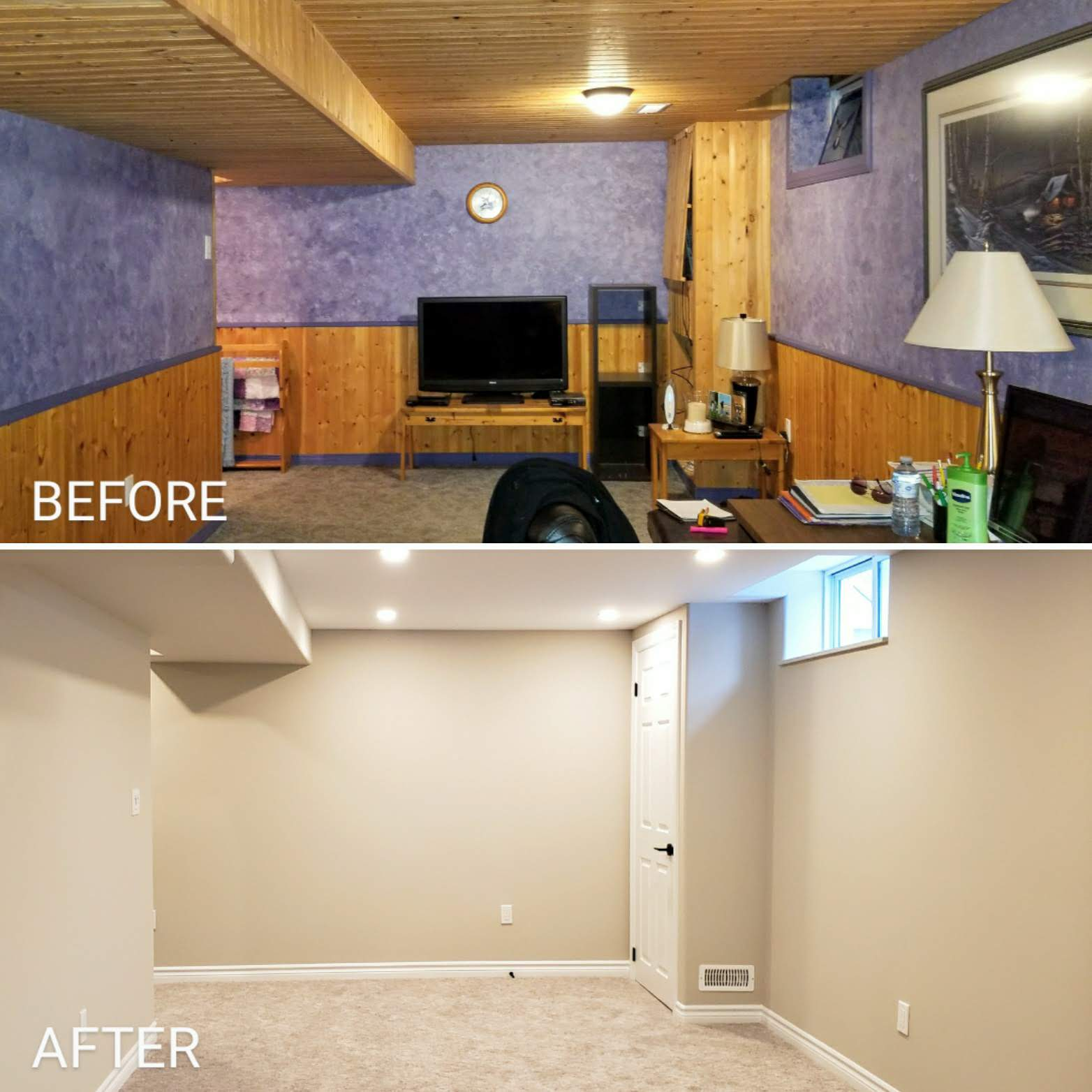 Before and after basement renovation by Germano Creative Interior Contracting Ltd.