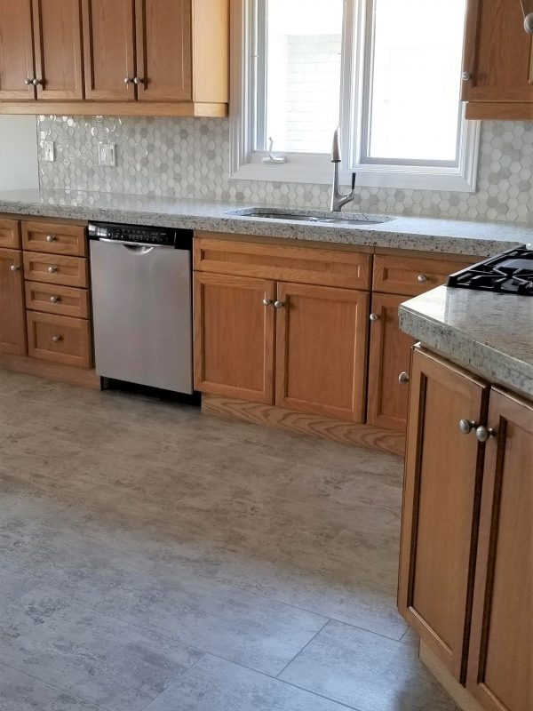 Hexagon Tile Backsplash and White Granite Countertops