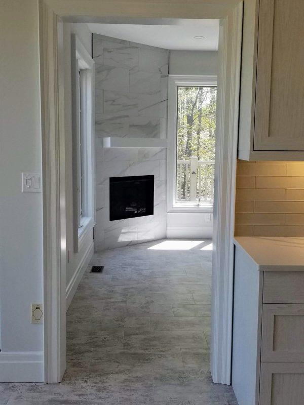 Vinyl tile flooring in kitchen and living room