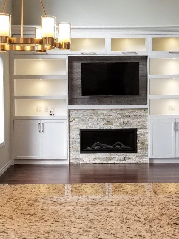 White entertainment unit installed
