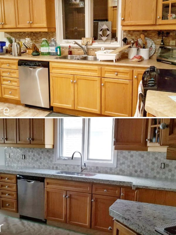 Before and After Kitchen Backsplash and Countertops