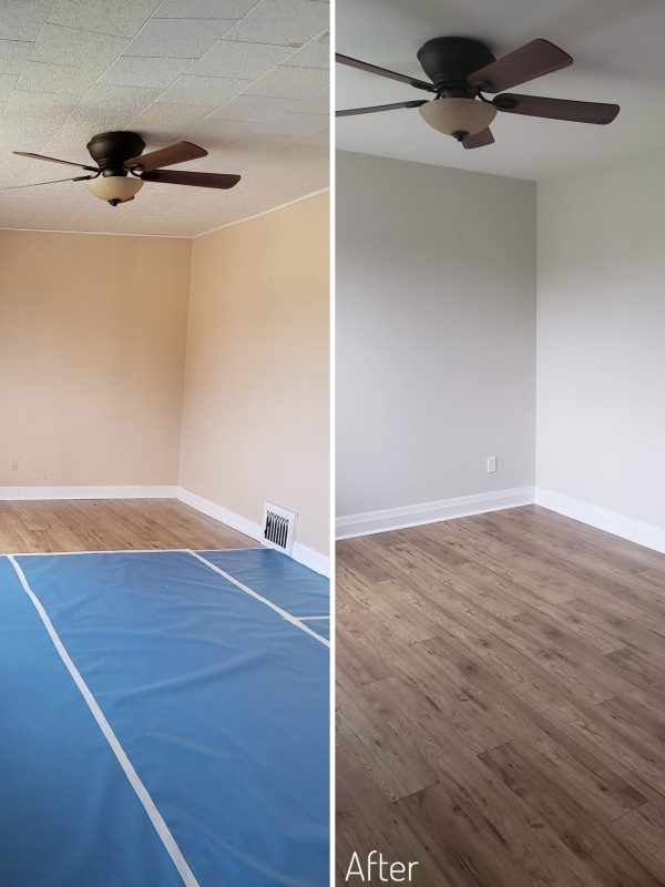 Before and After Living room dividing wall