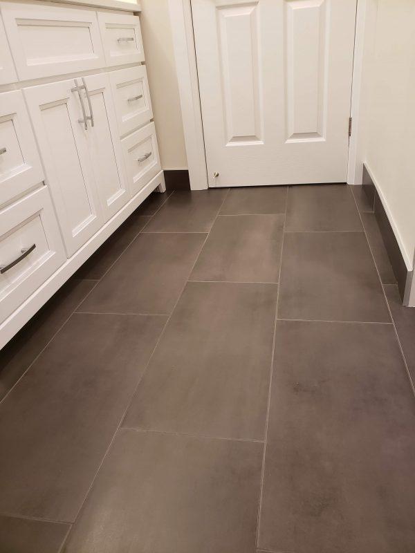 Charcoal grey porcelain tile