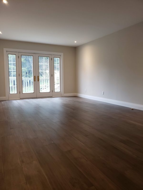 Engineered hardwood flooring installed