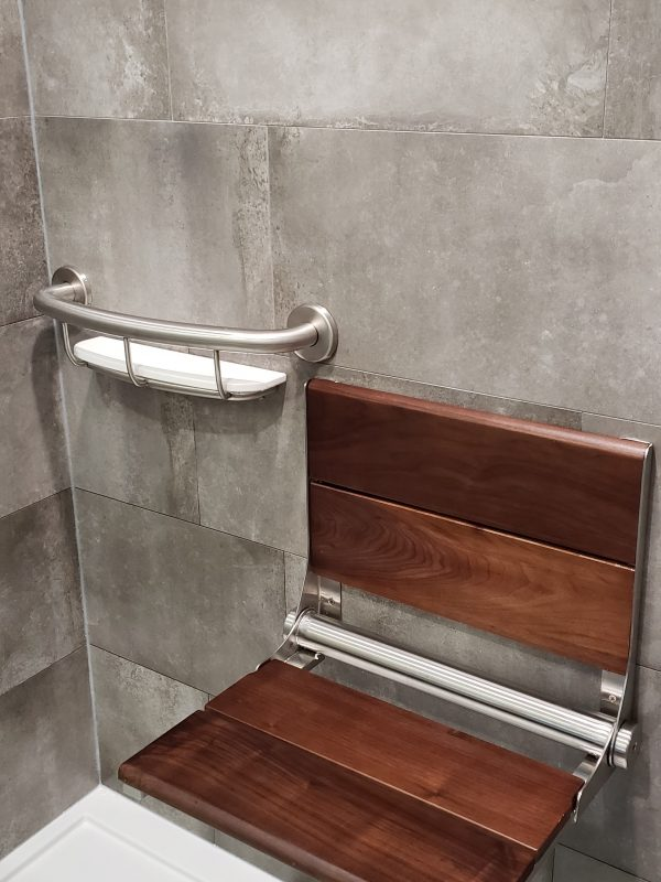 Wooden shower bench