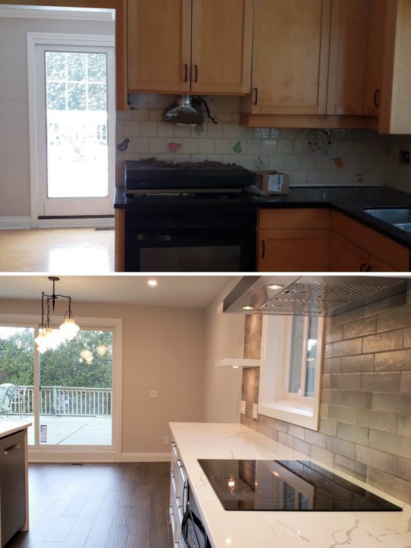 Before and After Kitchen layout