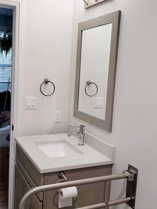 Matching vanity mirror frame
