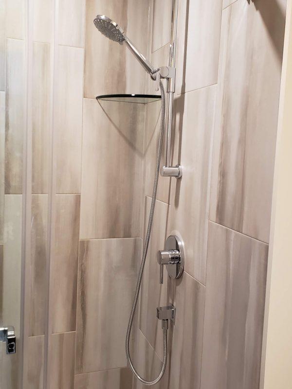 Porcelain tile shower surround