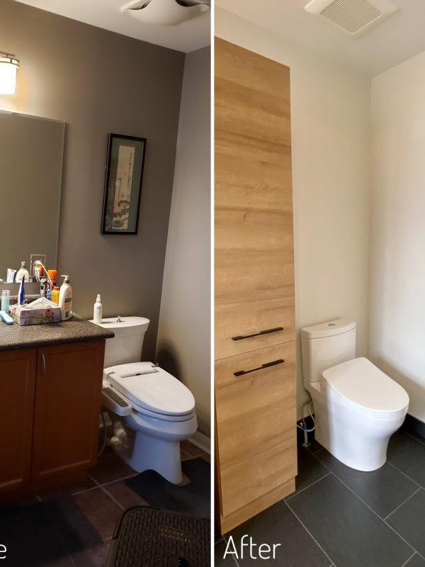 Before and After Toilet and Linen Tower
