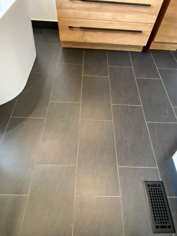 Notion carbon 12x24 rectified porcelain tile for floors and baseboards