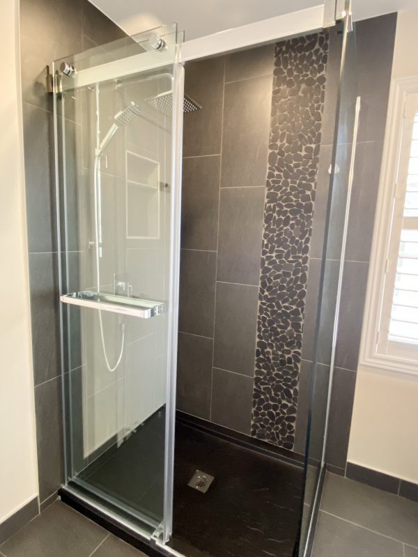 Sliding glass door shower