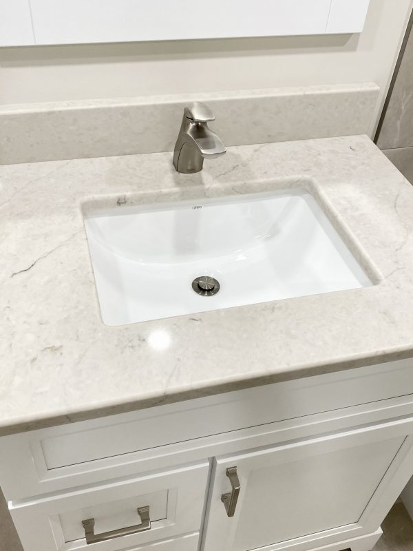 Quartz countertop with undermount sink